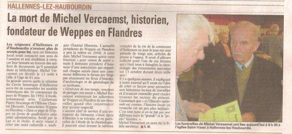 Hommage à Michel Vercaemst, fondateur de Weppes en Flandre