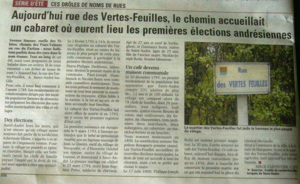 Les noms de rues à Saint-André (source La Voix du Nord)