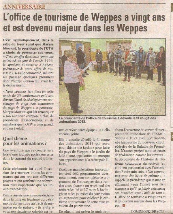 L'Office de Tourisme des Weppes a 20 ans (source La Voix du Nord)