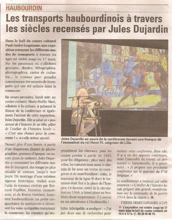 Haubourdin à pied, à cheval et en voiture, une conférence de Jules Dujardin (photographies Alain-Pierre Loyez et article de journal La Voix du Nord)