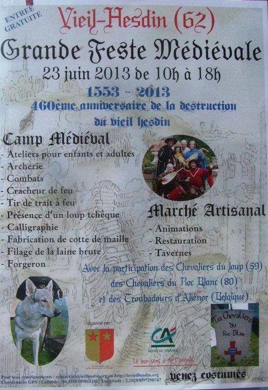 Grande feste médiévale à Vieil-Hesdin ce dimanche 23 juin