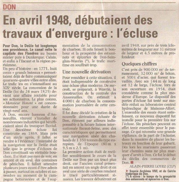Alain-Pierre Loyez nous raconte l'écluse de Don