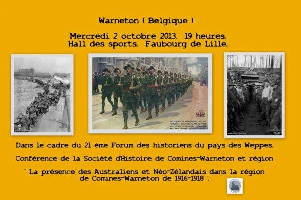 Ce mercredi 2 octobre à 19 heures au hall des sports de Warneton Belgique, conférence inaugurale du forum des Weppes 2013, consacrée à la Première Guerre mondiale