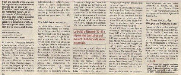 La conférence de presse pour le forum des Weppes à Warneton Belgique ce week-end (source La Voix du Nord)