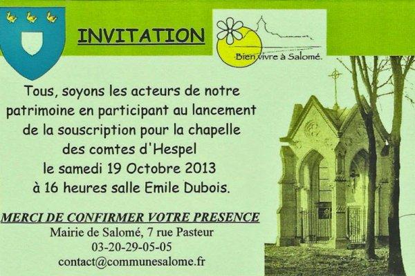 Souscription pour la restauration de la chapelle des comtes d'Hespel à Salomé