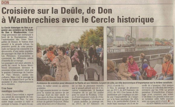 Le Cercle historique de don en croisière sur la Deûle (source La Voix du Nord)