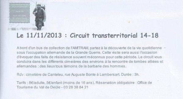 Le lundi 11 novembre, l'office de tourisme du Val de Deûle vous propose son circuit transterritorial 14-18