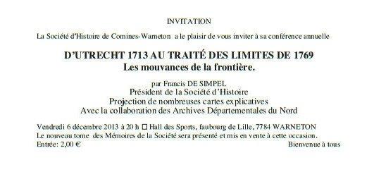 Conférence annuelle de la Société d'Histoire de Comines Warneton et de sa Région