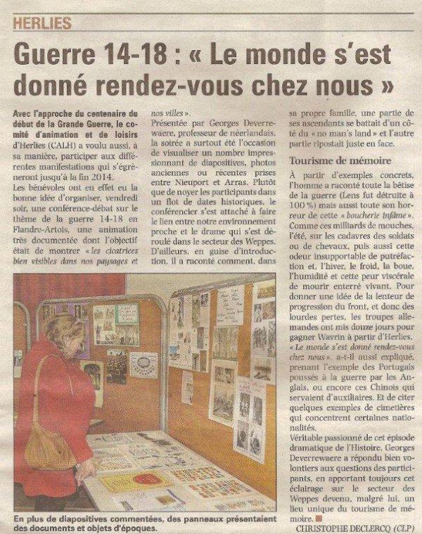 """Herlies : Guerre 14-18 : """"Le monde s'est donné rendez-vous chez nous"""". (merci à Alain-Pierre pour sa veille) (source La Voix du Nord)"""