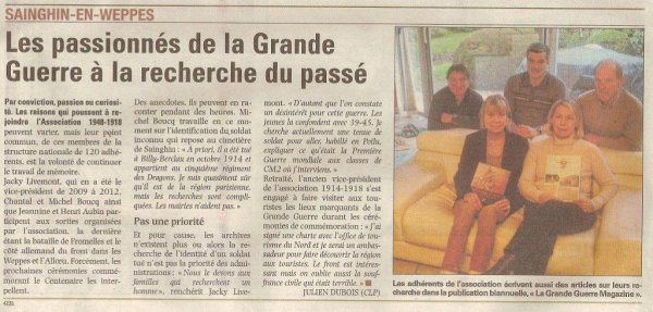Last news of the Weppes : la revue de presse d'Alain Pierre (source La Voix du Nord)