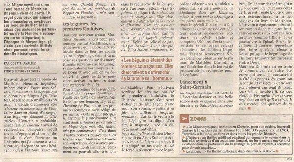 Une Migne mystique dans la revue de presse d'Alain-Pierre Loyez aujourd'hui (source la Voix du Nord)
