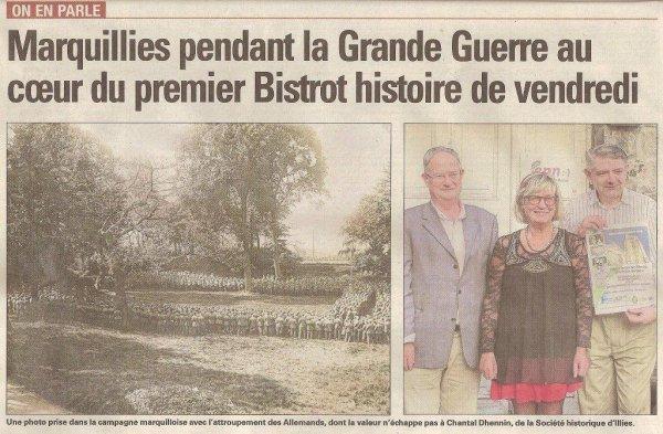 Le premier bistrot de l'histoire consacré à la Première Guerre mondiale dans les Weppes, c'est ce vendredi soir à Marquillies (source La voix du Nord, merci à Alain-Pierre Loyez)