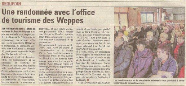 Actualité de l'office de tourisme des Weppes (source La Voix du Nord, merci à Alain Pierre Loyez)