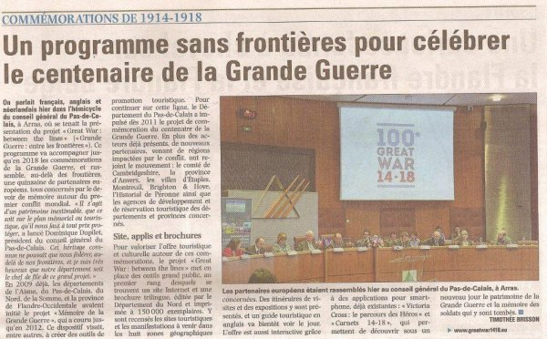 """Great War : between the lines"" (source La Voix du Nord, merci à Alain-Pierre Loyez, notre ""new press agent"")"