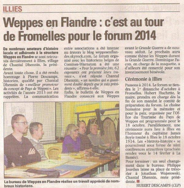 Le compte-rendu de la dernière assemblée générale de Weppes en Flandre dans La Voix du Nord (merci à Alain-Pierre Loyez)