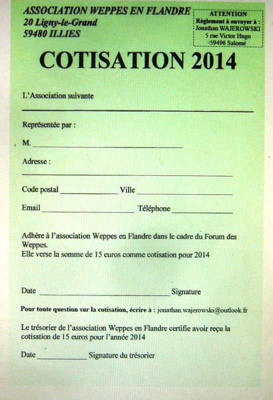 Message à l'attention des adhérents de Weppes en Flandre