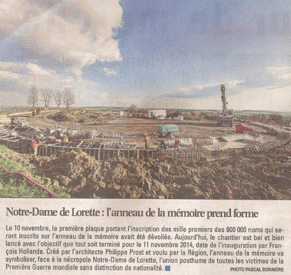 La Revue de Presse d'Alain-Pierre Loyez : l'anneau de la mémoire de Notre-Dame de Lorette (source La Voix du Nord)