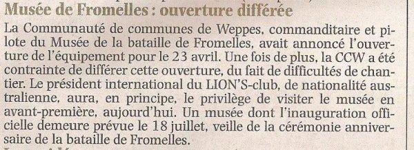 Des nouvelles du musée de Fromelles, par notre correspondant de guerre des Weppes Alain-Pierre Loyez