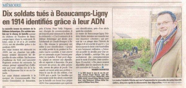 Notre correspondant de guerre des Weppes, Alain-Pierre Loyez, suit les combattants britanniques de Beaucamps-Ligny à la trace