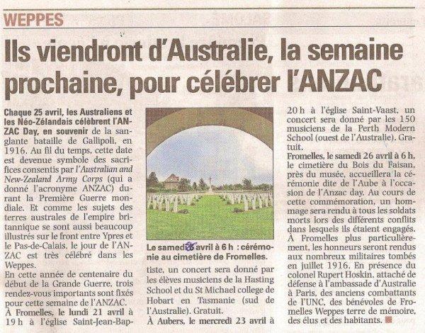 The ANZAC Day (traduction Alain Pierre Loyez)