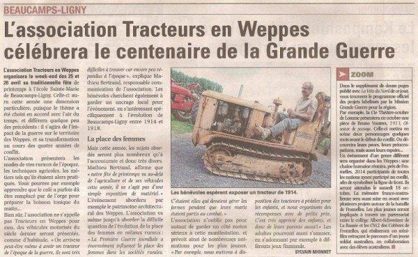 La Fête de printemps de Tracteurs en Weppes, c'est ce samedi 26 et ce dimanche 27 avril à Beaucamps-Ligny (source La Voix du Nord, merci à Alain-Pierre Loyez)