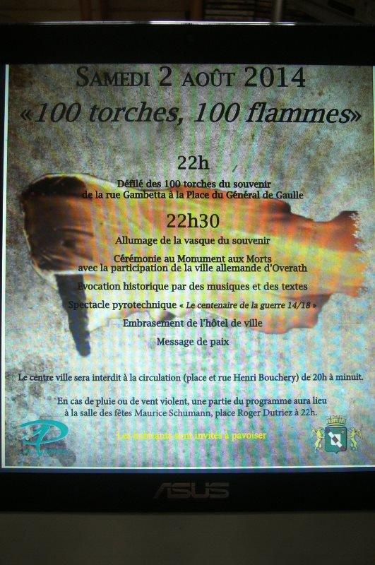 """Samedi 2 août 2014 : """"100 torches, 100 flammes"""" à Pérenchies"""