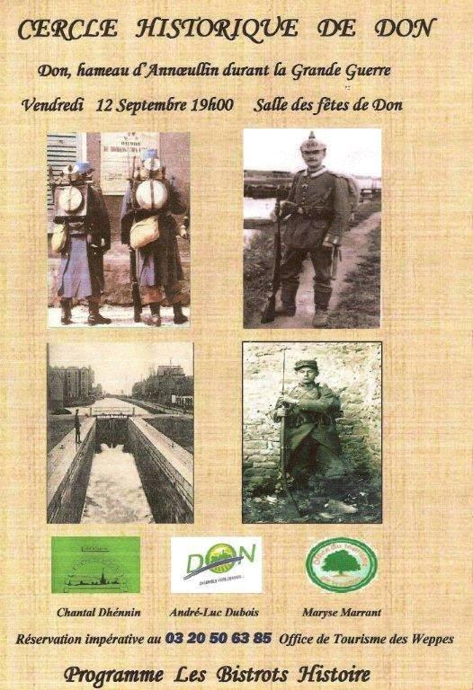 Le prochain bistrot histoire des Weppes, c'est le vendredi 12 septembre à Don.