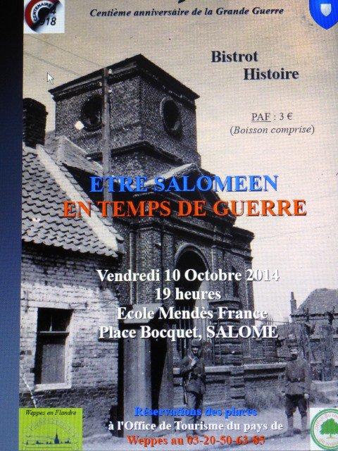 Le prochain bistrot histoire des Weppes consacré à la Première Guerre mondiale c'est à Salomé, le vendredi 10 octobre à 19 heures