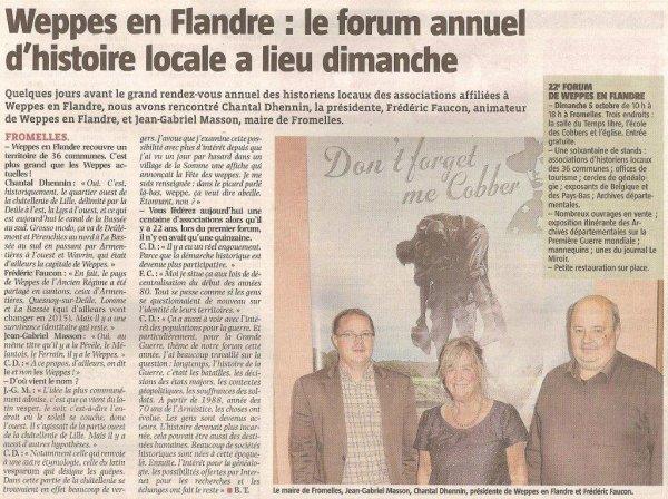 Dimanche 5 octobre : Forum des Weppes à Fromelles (la revue de presse d'Alain-Pierre Loyez : source La Voix du Nord)