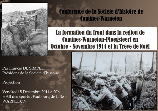 La prochaine conférence de la Société d'Histoire de Comines-Warneton et de sa Région