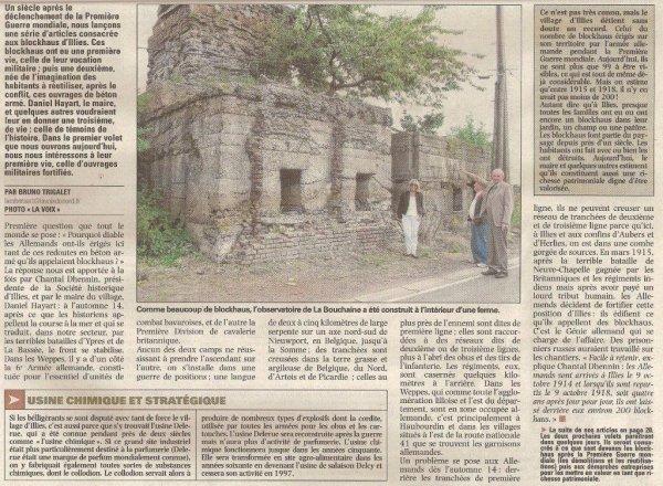Héritage de la première guerre mondiale, les blockhaus allemands font partie de notre cadre de vie quotidien (revue de presse d'Alain Pierre Loyez)