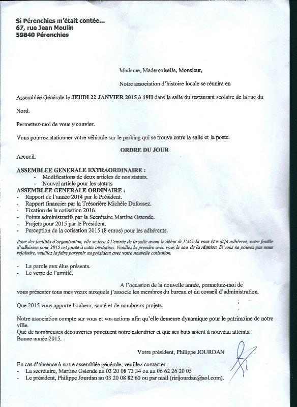 """Jeudi 22 janvier : assemblée générale de l'association """"Si Pérenchies m'était contée..."""""""