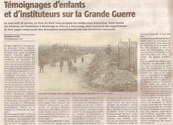 De nouveaux témoignages sur la guerre 14-18, c'est demain mercredi dans La Voix du Nord (revue de presse d'Alain-Pierre Loyez)