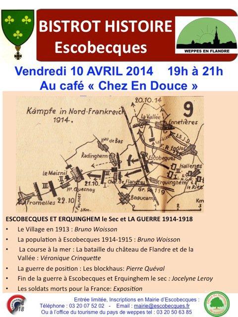 Le prochain bistrot histoire des Weppes, ce sera le vendredi 10 avril à 19 heures au café Chez en Douce à Escobecques