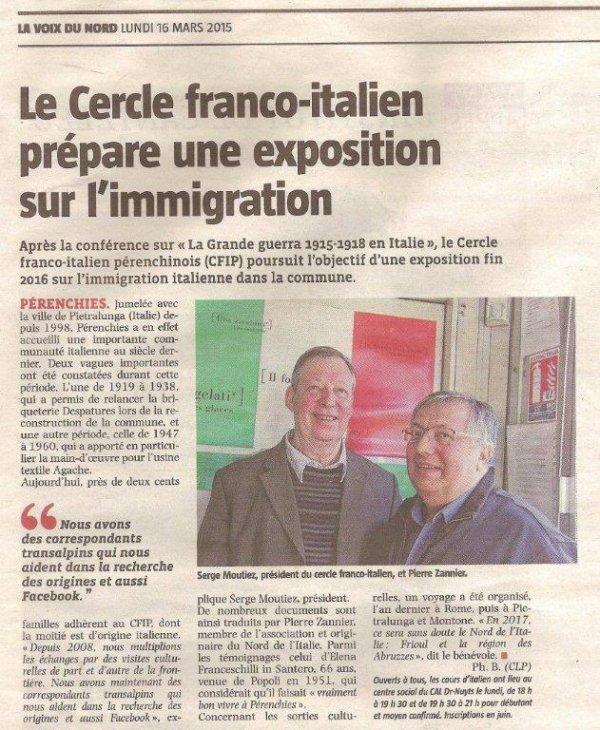 C'est promis, l'année prochaine nous saurons tout sur l'immigration italienne à Pérenchies après la Première Guerre mondiale (Revue de presse d'alain-Pierre Loyez)