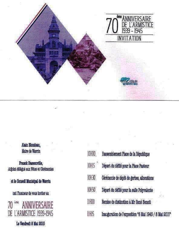 Wavrin commémore le 70ème anniversaire du 8 mai 1945