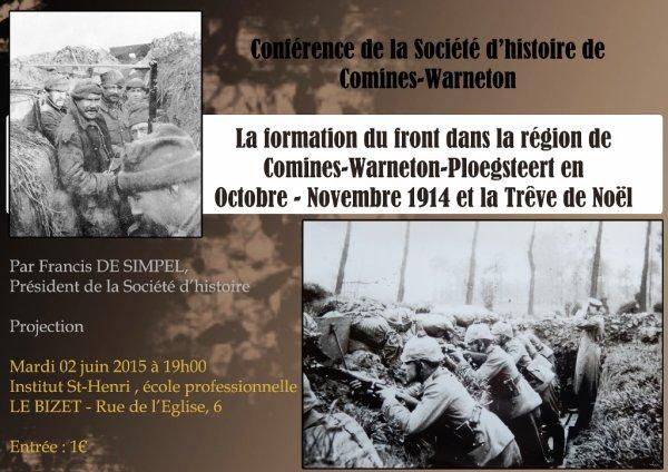 La Société d'Histoire de Comines Warneton et de sa Région prend les mêmes mais ne recommence pas !