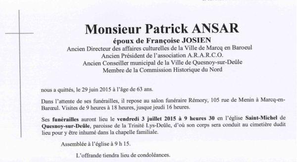 Patrick Ansar est décédé