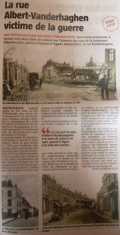 Jules Dujardin nous parle de la rue Vanderhaghen à Haubourdin (source La Voix du Nord)