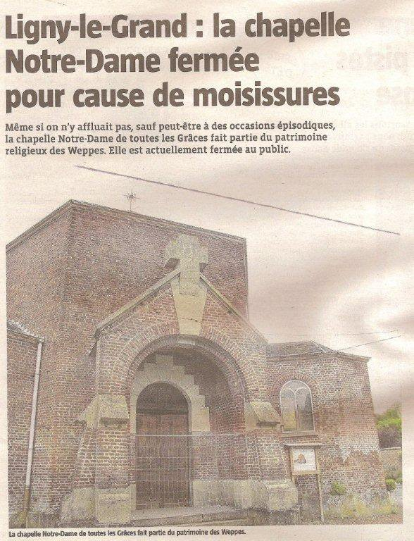 Patrimoine du pays de Weppes : la chapelle de Ligny-le-Grand à Illies