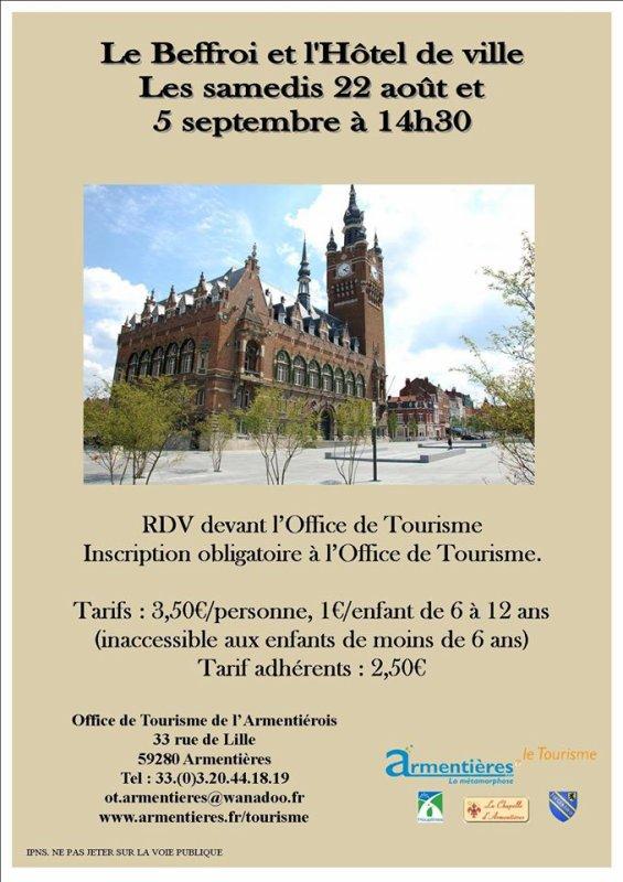 Au mois d'août, visitez le beffroi et l'hôtel de ville d'Armentières avec l'Office de tourisme de l'Armentiérois
