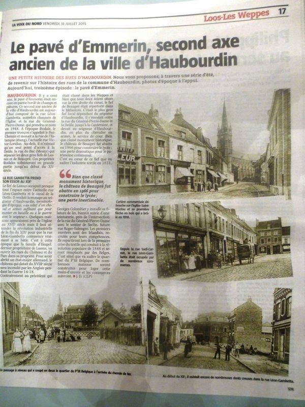 Cet été, l'ami Jules Dujardin retrace pour nous l'histoire des rues d'Haubourdin (source La Voix du Nord)