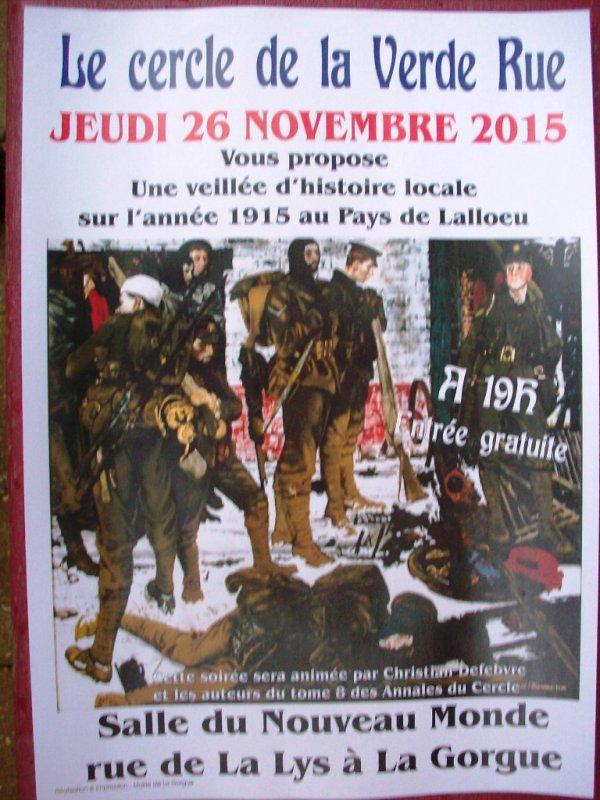 Novembre 2015, une actualité chargée pour le Cercle de la Verde Rue à Laventie !