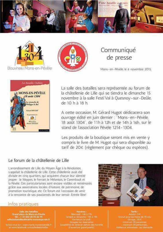 Ils participeront au forum de la châtellenie de Lille le 15 novembre à Quesnoy-sur-Deûle