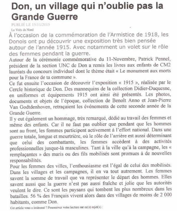 La commémoration du 11 novembre à Don (reportage Alain-Pierre Loyez)