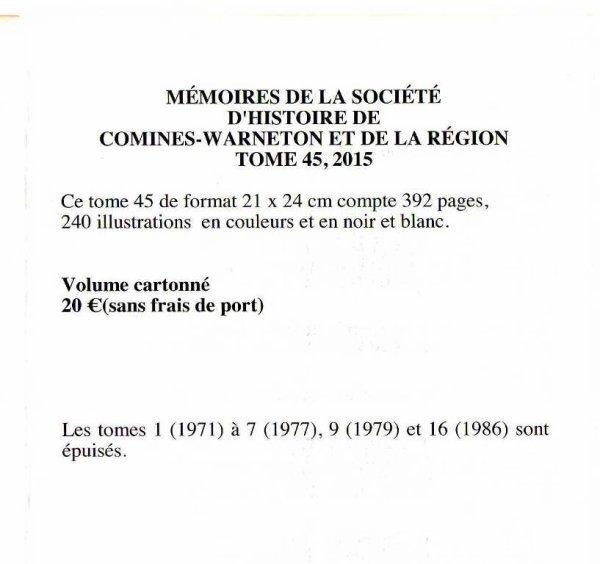 La Société d'Histoire de Comines-Warneton et de sa Région nous aide à finir l'année