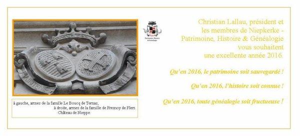 Une bonne année 2016 de la part de Niepkerke - patrimoine, histoire et généalogie