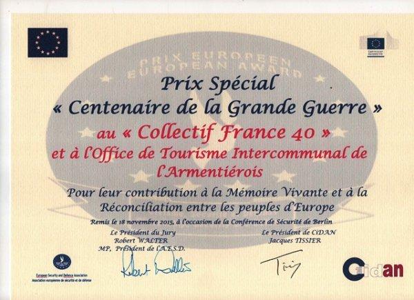 L'Office de Tourisme de l'Armentiérois récompensé pour son travail sur la Grande Guerre
