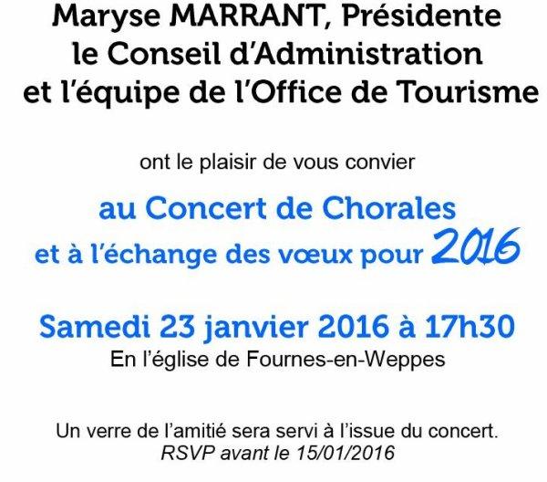 L'Office de tourisme du Pays de Weppes vous présente ses meilleurs voeux pour 2016 (attention, report de 17 h 30 à 19 h 30)