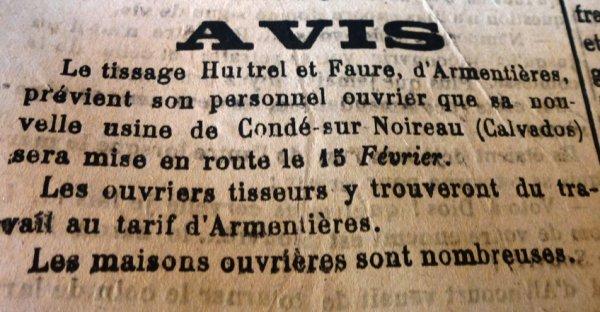 1916, la guerre s'éternise et l'industrie nordiste se réorganise (source l'Indépendant du Pas-de-Calais à Saint-Omer)